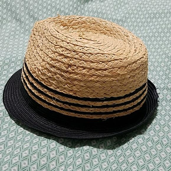 669f1eb0e9829 Ann Taylor Accessories - Straw panama hat with black stripes and brim NEW